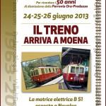 """La motrice B 51 è giunta a Moena per la """"Festa de Sen Vile"""""""