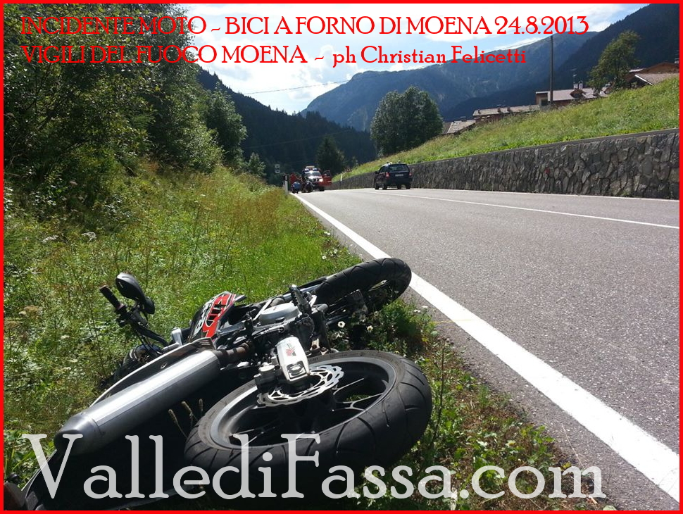 incidente moto bici forno moena fassa