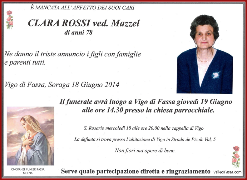 Clara Rossi ved. Mazzel