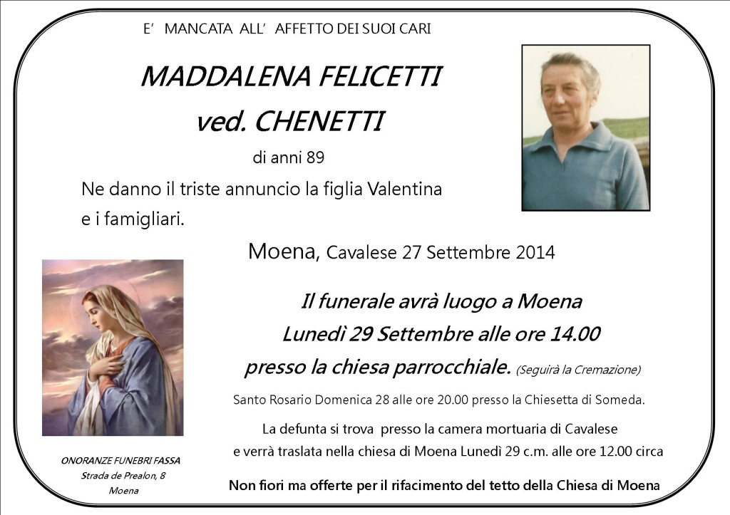 Maddalena Felicetti ved. Chenetti