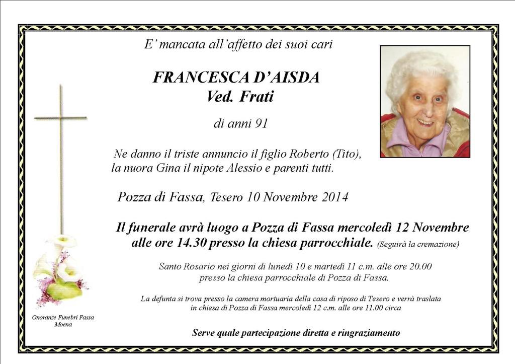 Francesca D'aisda ved. Frati
