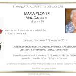 Canazei, necrologio Maria Ploner ved. Dantone