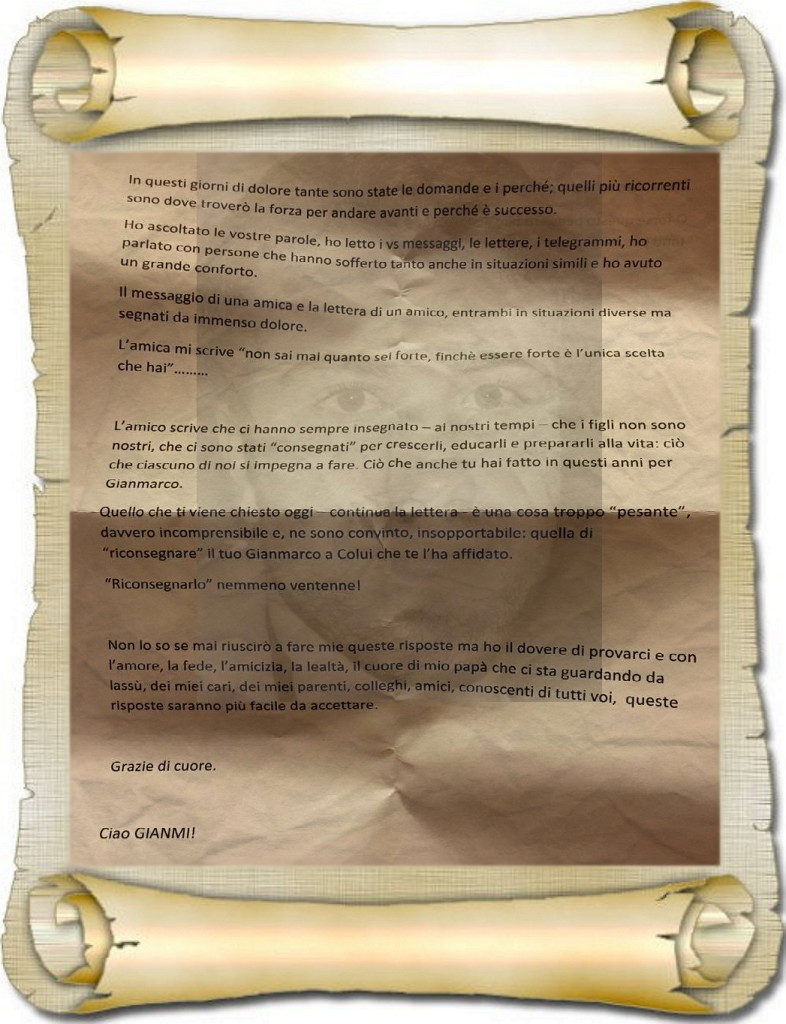 lettera papà di gianmarco sommariva al funerale 11.2.2016