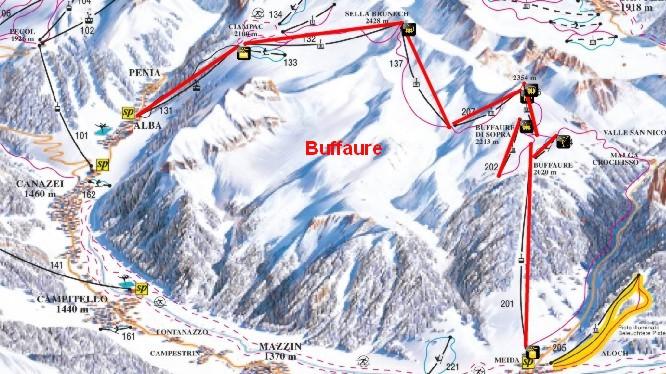 Mappa piste Buffaure