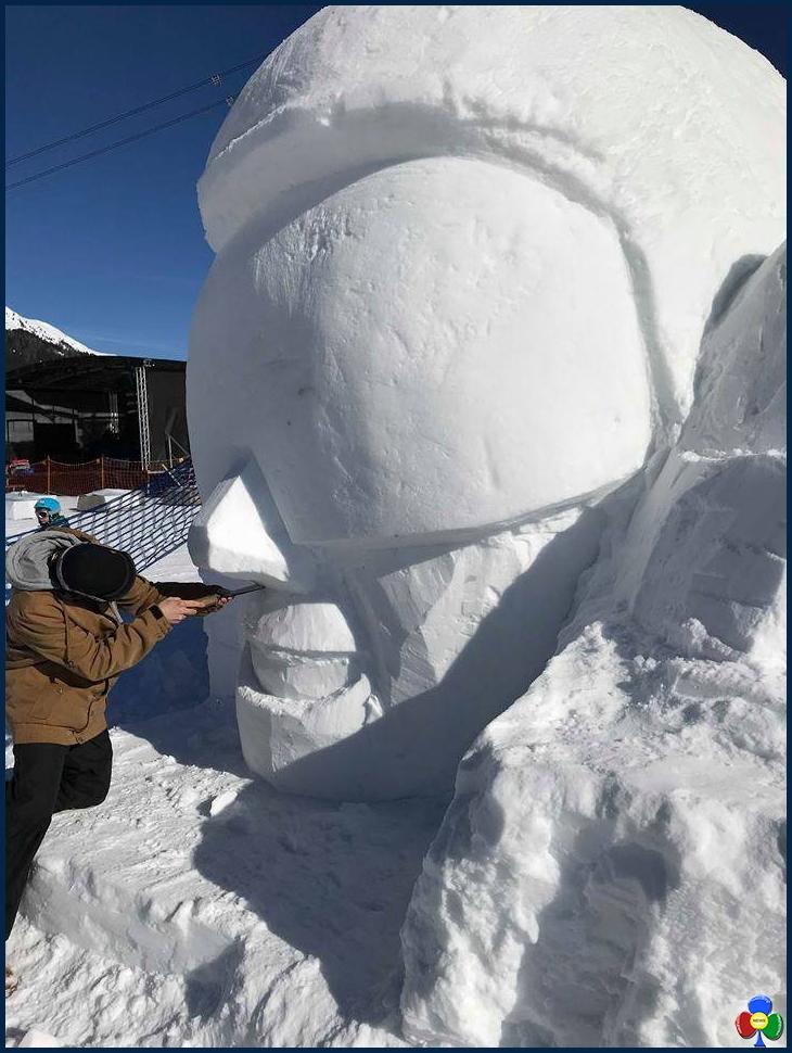 statua ghiaccio a davos studenti fassa 1